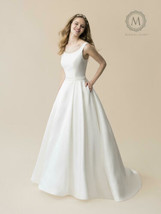 Womens Wedding Dress Size 10 Ivory Mikado A-Line by Moonlight Bridal Gow... - $232.82