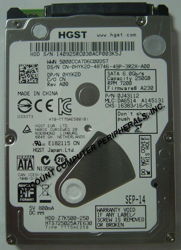 "NEW 250GB Hitachi HTS725025A7E630 SATA III 2.5"" 9.5MM hard drive Free USA Ship"