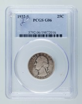 1932-S 25C Washington Quarter Graded by PCGS as G06 Good Condition - $79.19