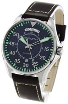 Hamilton H64615545 Men's Khaki Aviation Blue Dial Leather 42mm Automatic... - $719.32