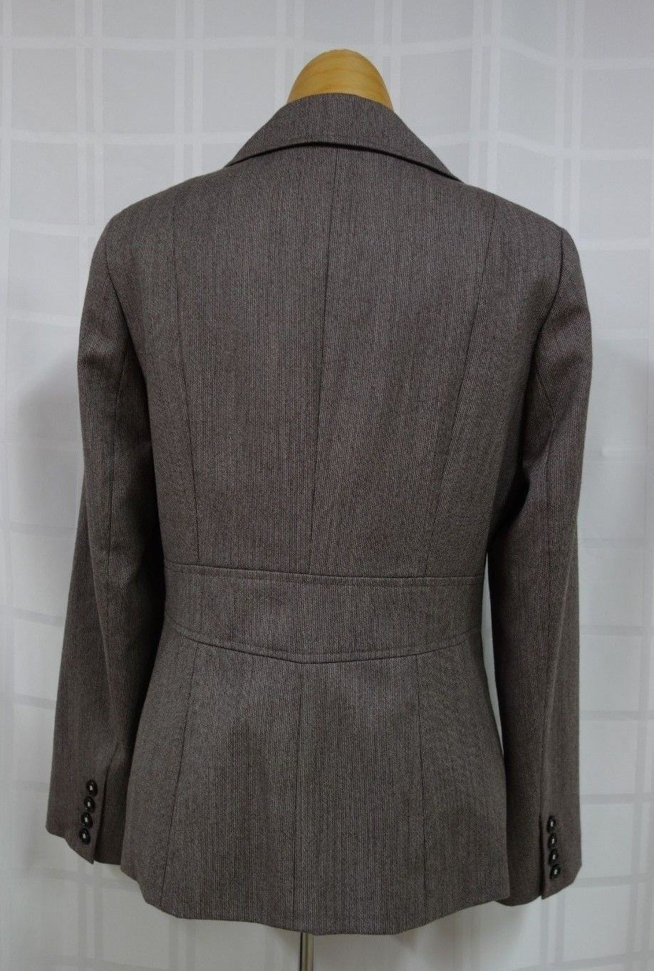 Talbots Womens Business Blazer Size 6 Brown Narrow Stripes 100% Wool Lined image 5