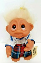 "Vintage 80s Dam Troll #604 Girl 1985 Denmark 9"" Yellow Blue School Plaid... - $79.19"