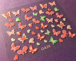 BANG STORE Nail Art 3D Decal Stickers Butterfly Butterflies White Green Hearts - $3.67