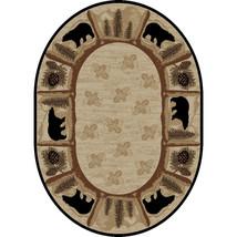 8x10 Oval Lodge Cabin Rustic Bear Pine Leaf Beige Area Rug ***FREE SHIPPING*** - $219.00