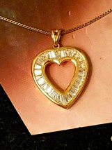 Vintage Gold Vermeil Sterling Silver Heart Pendant with Baguette Cubic Z... - $42.75