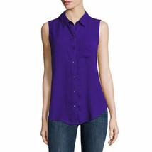 Liz Claiborne Women's Sleeveless Button Front Shirt LARGE Intrepid Purpl... - $27.71