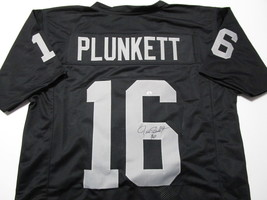 JIM PLUNKETT / AUTOGRAPHED OAKLAND RAIDERS BLACK CUSTOM FOOTBALL JERSEY / COA image 1