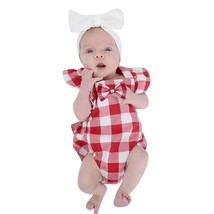 ARLONEET baby girl clothes fashion funny baby bodysuit funny Plaid Sleev... - $10.39