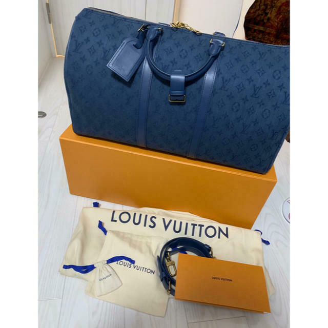 Primary image for Louis Vuitton Keepall 50 Denim blue Monogram Bag Navy M44645
