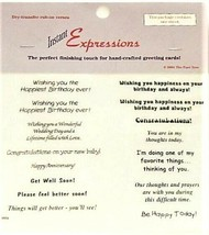 Instant Expressions Dry-Transfer Rub-On Verses, 1 Sheet, Various Sentiments
