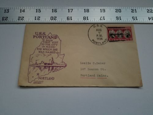 Primary image for Home Treasure Postal Cover Envelope 1934 Postmark USS Portland Maine Ship Purple