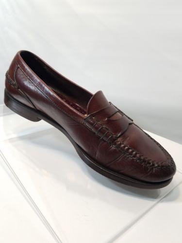 COLE HAAN MENS LEATHER DRESS SHOE FLAT OXFORD LOAFER RUST BROWN SLIP-ON US 9.5