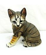 "Vintage Orange Gray Tabby Tiger Cat Kitten Figurine Ceramic 7"" Taiwan - $29.69"