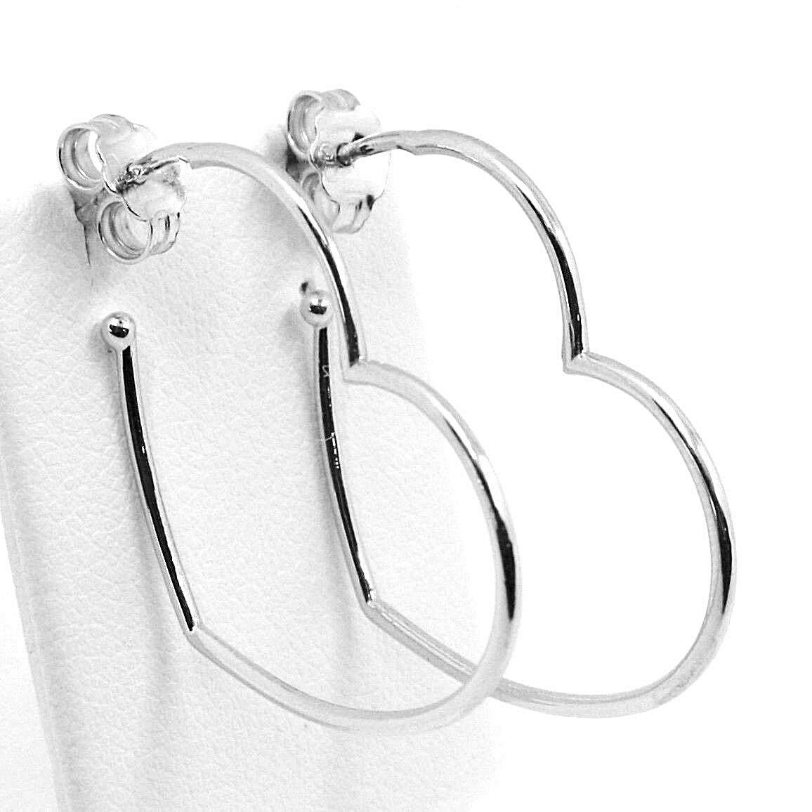 White Gold Drop Earrings 750 18k, Hearts, Length 2.9 cm, Made in Italy