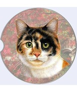 Calico Cat Car Coaster Absorbent Keep Cup Holder Dry Stoneware New Kitte... - $10.88