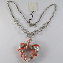 925 STERLING SILVER NECKLACE, CARNELIAN FINELY WORKED BIG HEART PENDANT, ITALY image 1