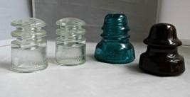 Three Glass Hemmingray & One Ceramic Electric Insulator Original Antique... - $12.00