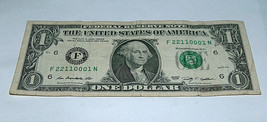 2009 $1 Bill US Bank Note Low # 0's 1's 2's Pairs Set 22110001 Fancy Ser... - $14.83