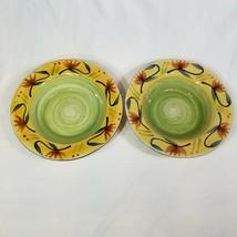 Set of 2 Pier 1 Stoneware Elizabeth Rimmed Soup Salad Pasta Bowls 9 3/4 Inches - $18.99