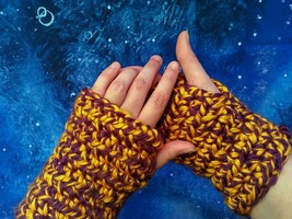 "Crochet Arm Wrist Warmers - ""Yellow and Purple Iris"" - One Size - $15.00"