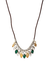 Robert Lee Morris Soho Two Tone Green and Yellow Bead Frontal Long Necklace - $27.85