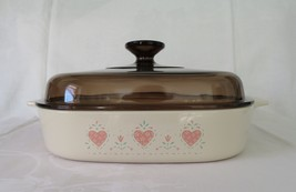 Corning Covered Casserole, Forever Yours, A-10-B, c. 1990-94, Pink Hearts - $22.00
