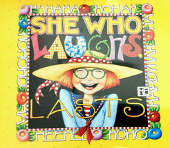 """MARY ENGELBREIT Hinged Tin Container, Bright Yellow, """"She Who Laughs Last"""" - $8.00"""