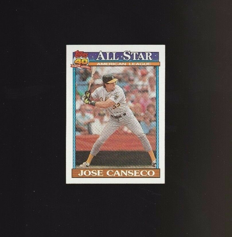 Jose Canseco 1991 Topps Glow Card Back UV Variant Baseball Card #390
