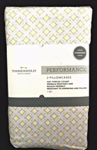 Threshold Pure Cotton Pillowcases Two Standard Yellow Gray Soft 400 Thre... - $23.75