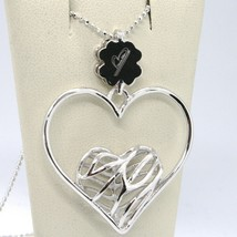 925 STERLING SILVER NECKLACE WORKED HEART FOUR LEAF CLOVER PENDANT, MARIA IELPO image 1