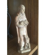 Wood Carved Figurine, The Good Shepherd, Man With Lambs, Vntage Wood, Ho... - $20.00