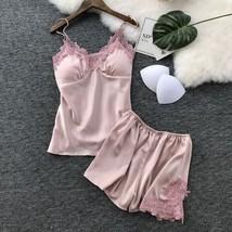 Pink Spaghetti Strap Lace Applique Satin Cami Top + Shorts Pajama Set Sl... - $42.70