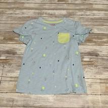 Cat & Jack Girls Light Blue & Green Shirt Size M (7/8) Ruffle Sleeve - $4.95