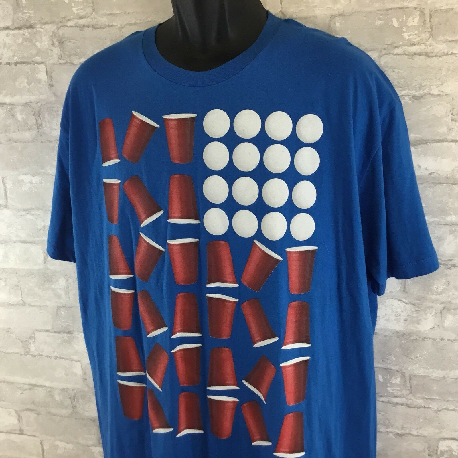 Primary image for Men's Univibe Red White Blue Beer Pong Graphic T-Shirt SZ XL