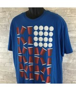 Men's Univibe Red White Blue Beer Pong Graphic T-Shirt SZ XL  - $12.81