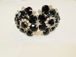 LARGE RHINESTONE black and clear clamper CUFF bracelet VINTAGE - $71.28