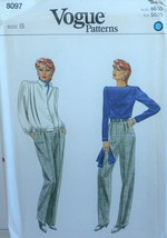 Vogue 8097 Sewing Pattern Jacket T Shirt Scarf Pants Size 8 Vintage - $12.59