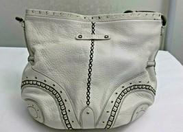 Cole Haan Shoulder Bag Village Grommet Off White Leather Vintage - $24.74