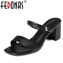 Women Thick Heel Leather FEDONAS Fashion Buckles Sandals Shoes Summer E Genuine 0n058XxZ
