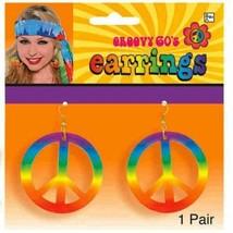Groovy 60s Hippie Tye Dye Peace Sign Earrings Set - $4.99