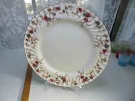 """Minton Ancestral China 12 1/2"""" Chop Plate Platter Wreath Backstamp Enamel Flower - $50.00"""