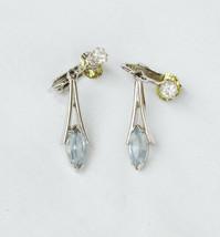 Avon earrings light blue stone tear drop silver tone setting clips - $3.91