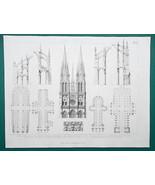 ARCHITECTURE Notre Dame Paris Beauvais Rheims Noyon - 1870 Engraving Print - $16.20