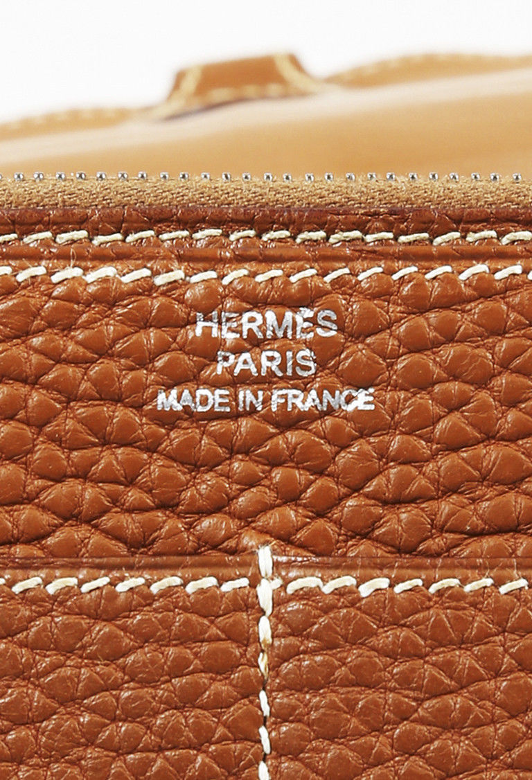 """Hermes """"Dogon Duo Combined"""" Gold Clemence Leather Wallet"""