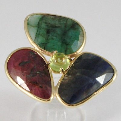 YELLOW GOLD RING 375 9K, SAPPHIRE, EMERALD, RUBY, PERIDOT, MADE IN ITALY