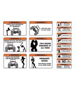 FUNNY WARNING DECALS STICKERS FOR WILLYS, CJ5, CJ - NO FAT CHICKS, NUTS ... - $19.77