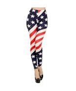 Womens Red, White & Blue Stars & Stripe American Flag Print Leggings 74197 - $363,36 MXN