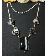 Necklace Natural Botswana Agate Marked Sterling Sliver Boho Chic Gift Ideal - $29.44