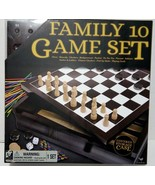 Family 10 Game Set Covered Storage Case Wood Cabinet With Dual Sided Top... - $18.53