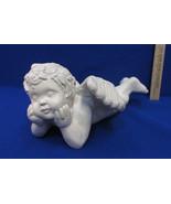 Weighted Garden Angel Cherub Laying w/ Arms Under Chin Head Cute Ornamen... - $12.22